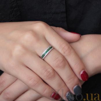 Серебряное кольцо с изумрудами Белла  TNG--367533С