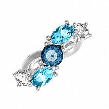 Серебряное кольцо Деми с лондон кварцем, голубым кварцем и фианитами