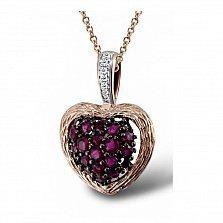 Кулон из красного золота Стелла с бриллиантами и рубинами