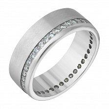 Обручальное кольцо из белого золота Счастливая любовь с фианитами