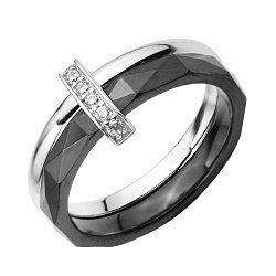 Кольцо из черной керамики и серебра с фианитами 000131766