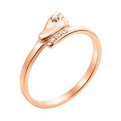 Золотое кольцо Стопа с цирконием 000044629