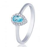Золотое кольцо Капля росы в белом цвете с голубым топазом и фианитами