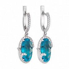 Серебряные серьги-подвески Изысканность с голубым кварцем и фианитами