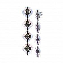 Серебряные серьги-подвески Лакшери из четырех цветочков с перламутром и черными фианитами