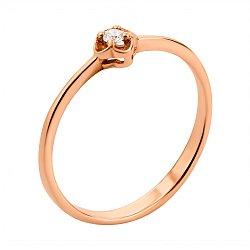 Кольцо из красного золота с цирконием 000134165