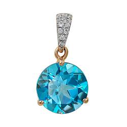Подвес из красного золота с бриллиантами и голубым топазом 000081053