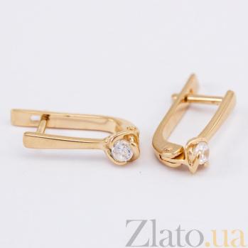 Золотые серьги с фианитами Дама сердца 000024317