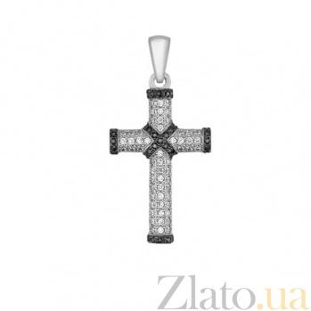 Крестик из белого золота с фианитами Олизария VLT--ТТ3323