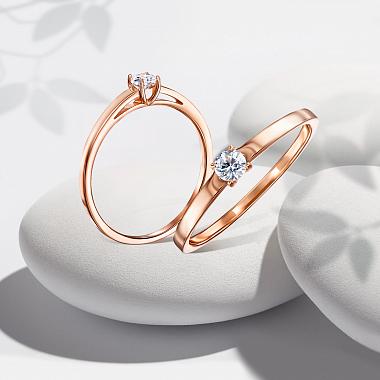 Золотое кольцо Люси в красном цвете с кристаллом циркония