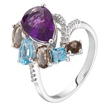 Золотое кольцо Амели с аметистом, раухтопазом и бриллиантами