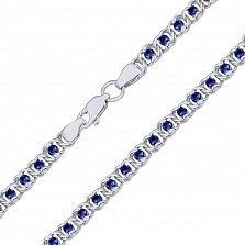 Серебряный браслет Мирена с синим цирконием, 4,5мм