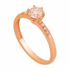 Золотое кольцо с цирконием Изабелла