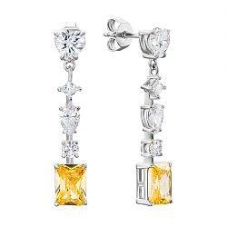 Серебряные серьги-подвески с желтыми и белыми фианитами 000134017