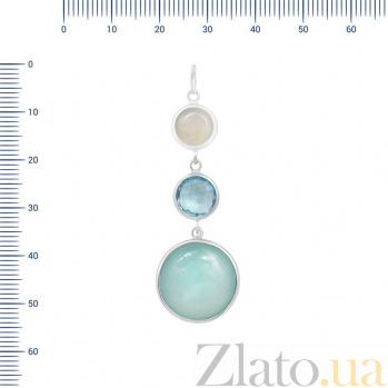 Серебряный подвес Ирина с голубым топазом и халцедоном 000088387