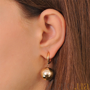 Золотые сережки-подвески Бусинки EDM--С0300
