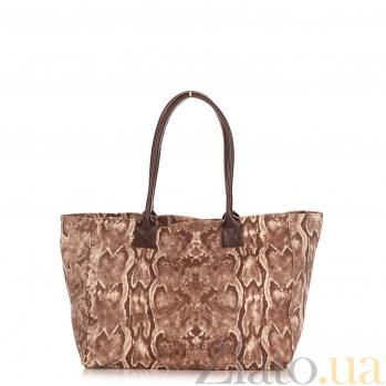Кожаная сумка на каждый день Genuine Leather 8005 коричневого цвета на молнии и магнитной кнопке 000092812