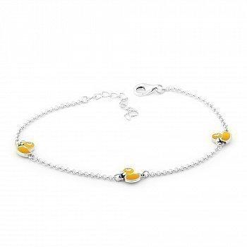 Серебряный браслет с эмалью и фианитами 000149528