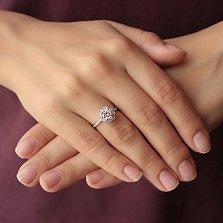 Серебряное родированное кольцо Натали с фианитами