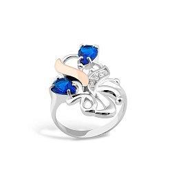 Серебряное кольцо с золотой накладкой, альпинитами и фианитами 000100859