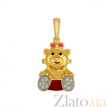 Детский кулон Мишутка из желтого золота VLT--Т340-4