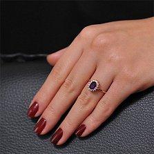 Золотое кольцо Синтия с аметистом и фианитами