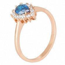 Позолоченное серебряное кольцо с голубым фианитом Пенелопа
