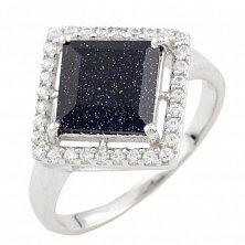 Серебряное кольцо Николетта с синим авантюрином и фианитами