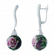 Серебряные серьги-подвески Вечерняя роза с цветной эмалью