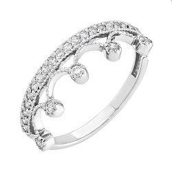 Кольцо-корона из белого золота с фианитами и родированием 000036415