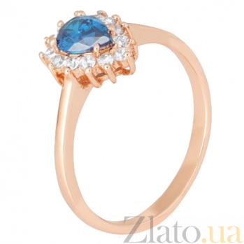 Позолоченное серебряное кольцо с голубым фианитом Пенелопа 000028440