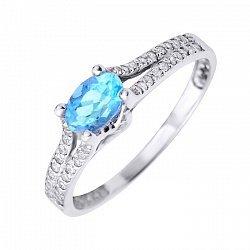 Кольцо из белого золота с голубым топазом и фианитами 000104455