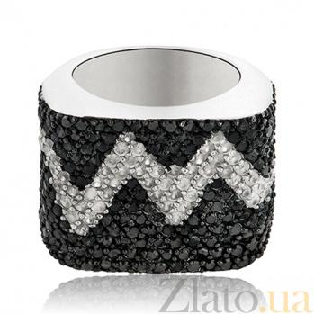 Серебряное кольцо Сердцебиение с кристаллами Swarovski 10000030