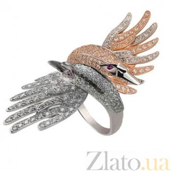 Кольцо из белого и красного золота Лебеди с фианитами VLT--ТТ1305