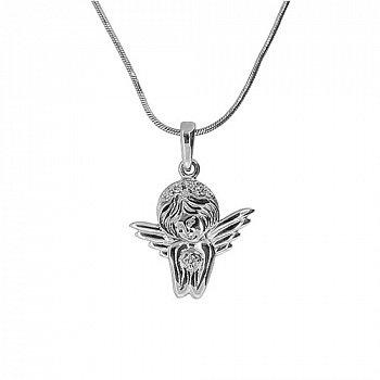 Серебряная подвеска Ангелок с бриллиантами 000030737