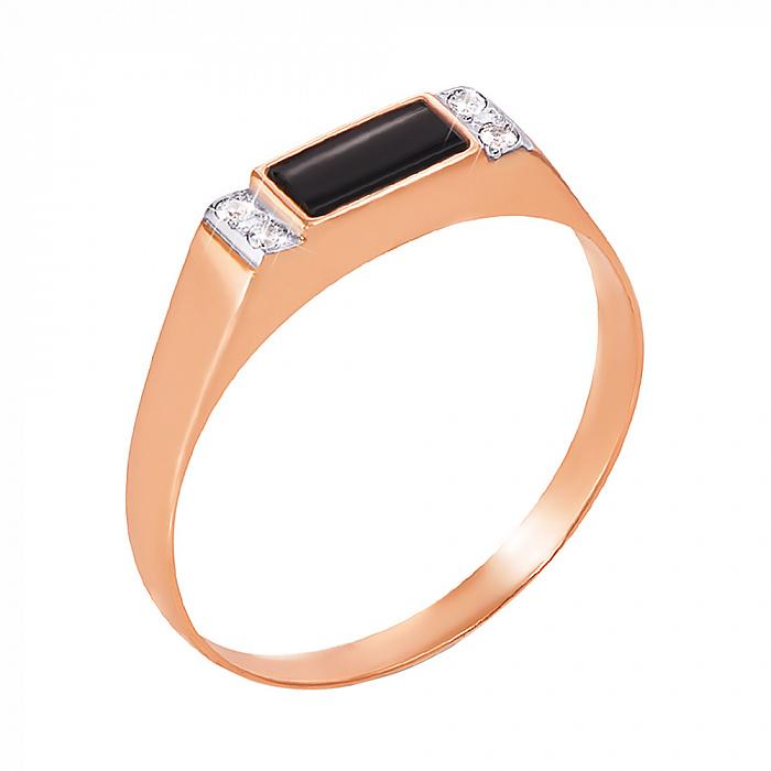 Перстень-печатка из красного золота с черным ониксом и фианитами 000004103 1928