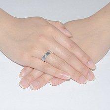 Обручальное кольцо из белого золота с фианитами Сонет