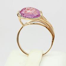 Золотое кольцо Надира с синтезированным аметистом