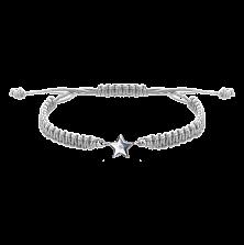 Детский плетеный браслет Звездочка с cеребряной вставкой и фианитом 10-10см