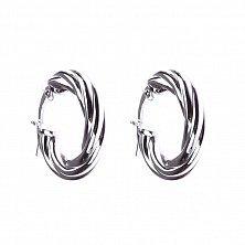 Серебряные серьги-конго Литая плетенка с родием