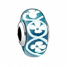 Серебряный шарм Цветочный узор с голубым муранским стеклом в стиле Пандора