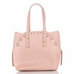 Кожаная сумка на каждый день Genuine Leather 8657 светло-розового цвета с сумкой-вкладышем внутри