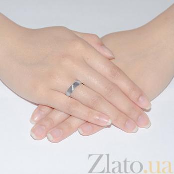 Обручальное кольцо из белого золота с фианитами Сонет 1089б
