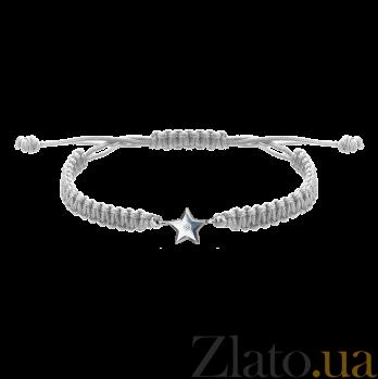 Детский плетеный браслет Звездочка с cеребряной вставкой и фианитом, 10х20см 000080656