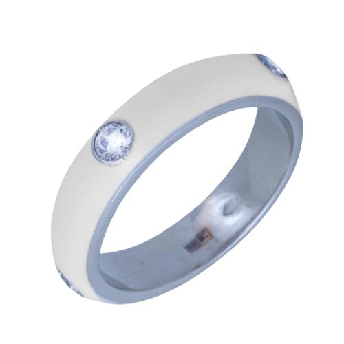 Золотое кольцо Пастель с фианитами и эмалью белого цвета К221бел/бел