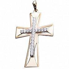 Крестик из желтого золота Благословение с фианитами
