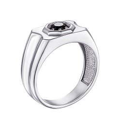 Серебряный перстень-печатка с черным цирконием 000119315