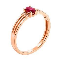 Золотое кольцо в красном цвете с рубином и бриллиантами 000117346