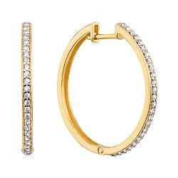 Золотые серьги-кольца в комбинированном цвете с дорожками фианитов, d 29mm 000130582