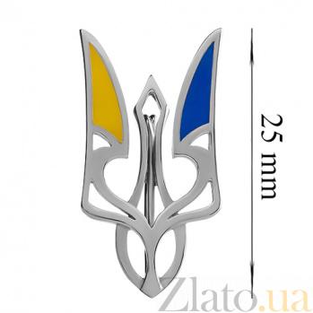 Серебряный значок с эмалью 000015145